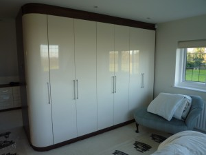 Tobacco Cream Gloss Bedroom Wardrobes 1